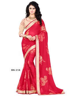 Ethnic Wear Pink Jute Silk Saree  - BN-218