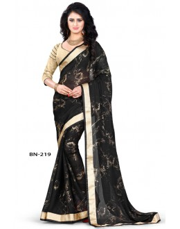 Casual Wear Black Jute Silk Saree  - BN-219