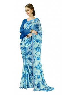 Ethnic Wear Blue Georgette Saree  - RKSALS620