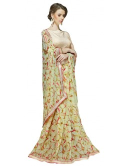 Casual Wear Green & Pink Georgette Saree  - RKSALS625