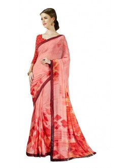 Ethnic Wear Pink & Orange Georgette Saree  - RKSALS626