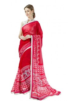 Ethnic Wear Red & Beige Georgette Saree  - RKSALS627