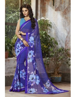 Ethnic Wear Purple Georgette Saree  - RKSALS801