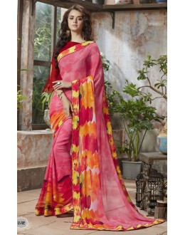 Festival Wear Pink Georgette Saree  - RKSALS802