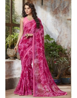 Party Wear Pink Georgette Saree  - RKSALS803