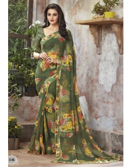 Festival Wear Green Georgette Saree  - RKSALS805
