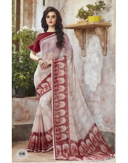 Ethnic Wear Cream Georgette Saree  - RKSALS806