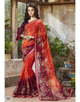 Ethnic Wear Orange Georgette Saree  - RKSALS811