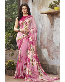 Festival Wear Pink Georgette Saree  - RKSALS812