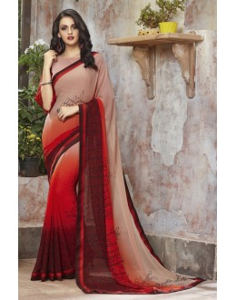 Georgette Multi-Colour Printed Saree  - RKSALS813