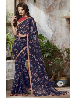 Casual Wear Blue Georgette Saree  - RKSALS816