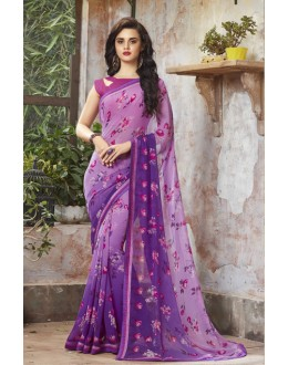 Ethnic Wear Purple Georgette Saree  - RKSALS818