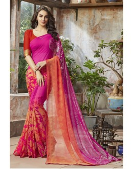 Casual Wear Pink Georgette Saree  - RKSALS821