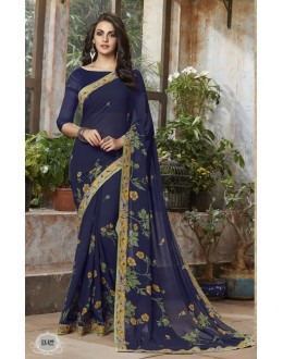 Casual Wear Blue Georgette Saree  - RKSALS822