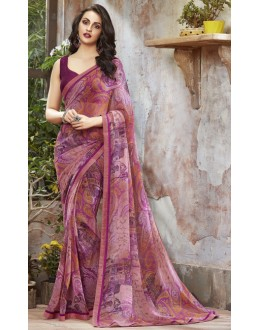 Casual Wear Purple Georgette Saree  - RKSALS824