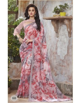 Party Wear Peach Georgette Saree  - RKSALS825