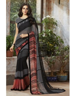 Party Wear Black Georgette Saree  - RKSALS827