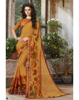 Party Wear Yellow Georgette Saree  - RKSALS830