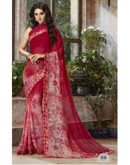 Ethnic Wear Red Georgette Saree  - RKSALS831