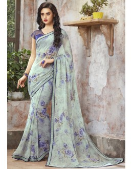 Casual Wear Cream Georgette Saree  - RKSALS832