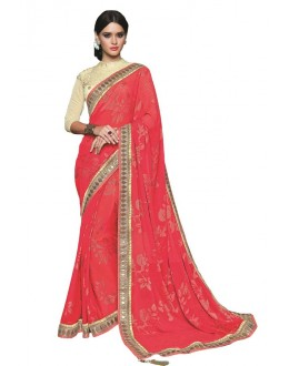Casual Wear Red & Cream Georgette Saree  - RKSAOC112