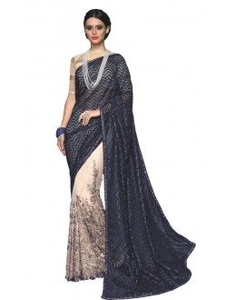 Casual Wear Blue & Off White Georgette Saree  - RKSAOC113