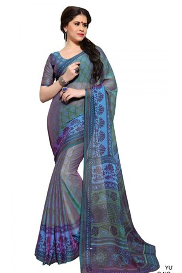 Casual Wear Grey & Green Chiffon Saree - RKSG1535B