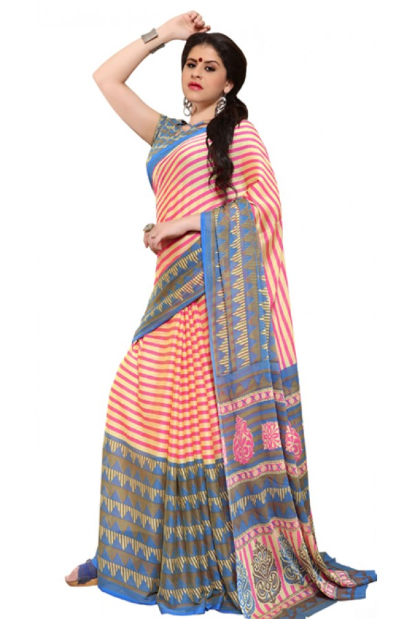 Party Wear Multicolour Chiffon Saree - RKSG1537B