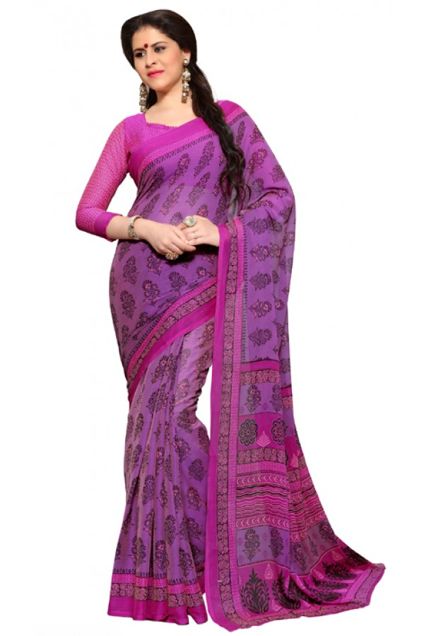 Casual Wear Purple & Pink Chiffon Saree - RKSG1538A