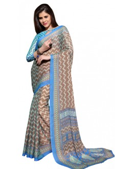 Casual Wear Brown & Blue Chiffon Saree - RKSG1543B