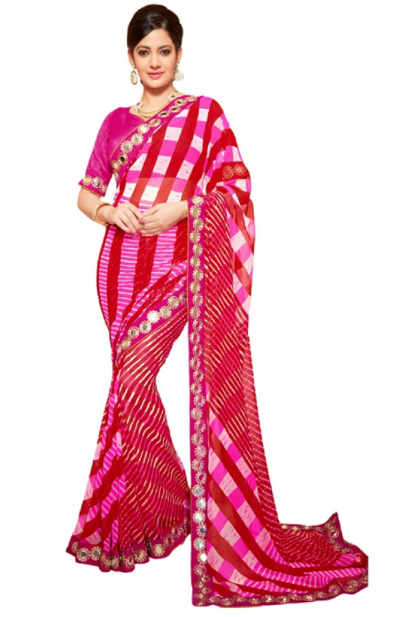 Party Wear Dark Pink Georgette Saree - RKSG1544
