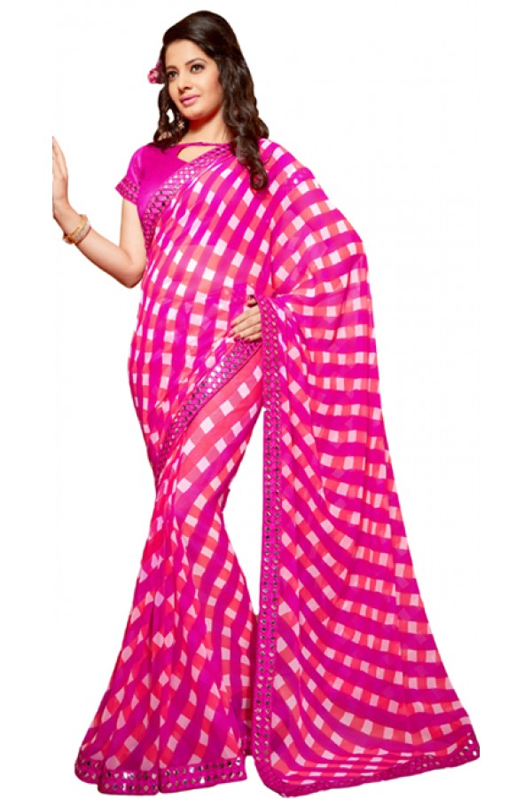 Party Wear Dark Pink Georgette Saree - RKSG1547