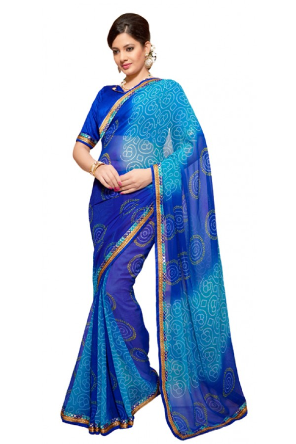 Party Wear Blue Georgette Saree - RKSG1552