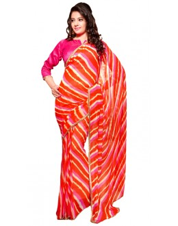 Casual Wear Pink & Orange Georgette Saree - RKSG1553