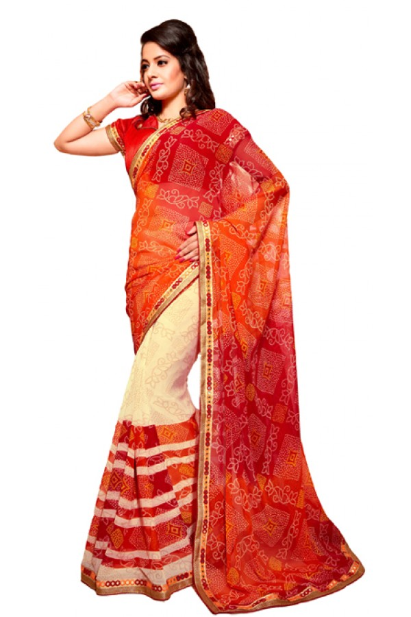 Casual Wear Multicolour Georgette Saree - RKSG1555