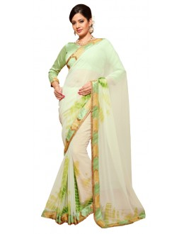 Casual Wear Light Green Georgette Saree - RKSG1557