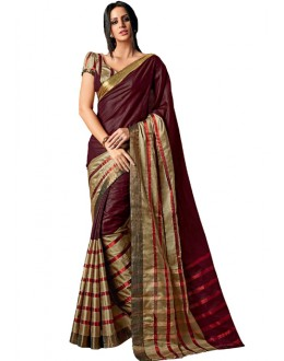 Ethnic Wear Maroon & Gold Cotton Saree  - RKSPAAROHI-01