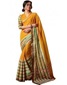 Ethnic Wear Yellow & Gold Cotton Saree  - RKSPAAROHI-02