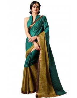 Party Wear Green Cotton Saree  - RKSPAAROHI-04