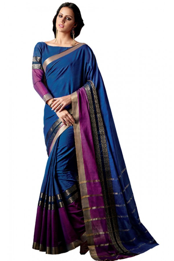 Ethnic Wear Blue & Purple Cotton Saree  - RKSPAAROHI-05