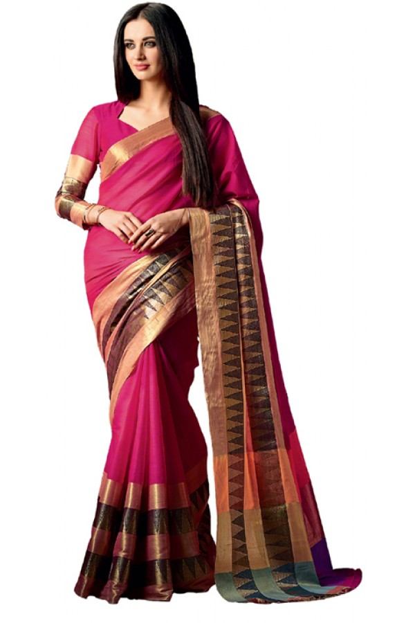 Party Wear Pink Cotton Saree  - RKSPAAROHI-09
