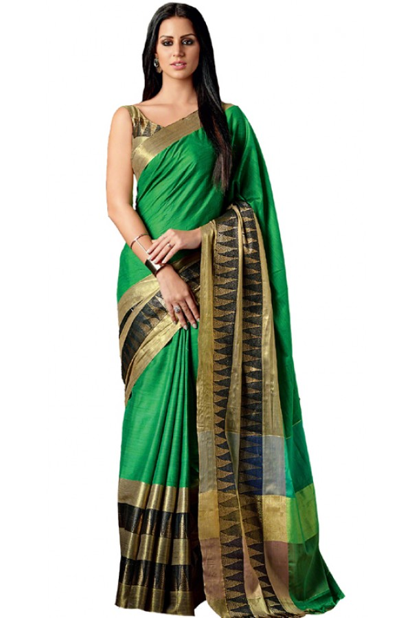 Party Wear Green & Gold Cotton Saree  - RKSPAAROHI-10
