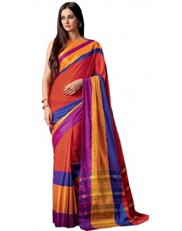 Ethnic Wear Orange & Gold Cotton Saree  - RKSPAAROHI-12