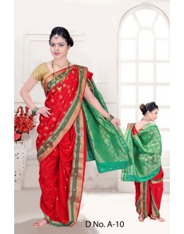 Traditional Red Bramhni Nauvari Saree  - RKSSFRTWA10
