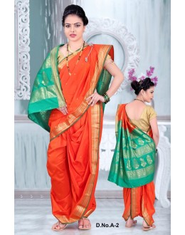 Traditional Orange Bramhni Nauvari Saree  - RKSSFRTWA2