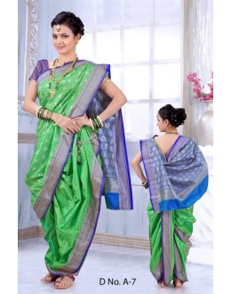 Traditional Green Bramhni Nauvari Saree  - RKSSFRTWA7