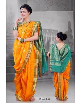 Ethnic Wear Yellow Bramhni Nauvari Saree  - RKSSFRTWA8
