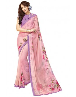Festival Wear Peach Georgette Saree - RKTMPC4420