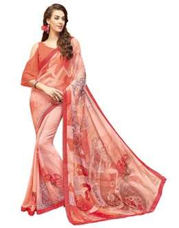 Casual Wear Orange Georgette Saree - RKTMPC4427