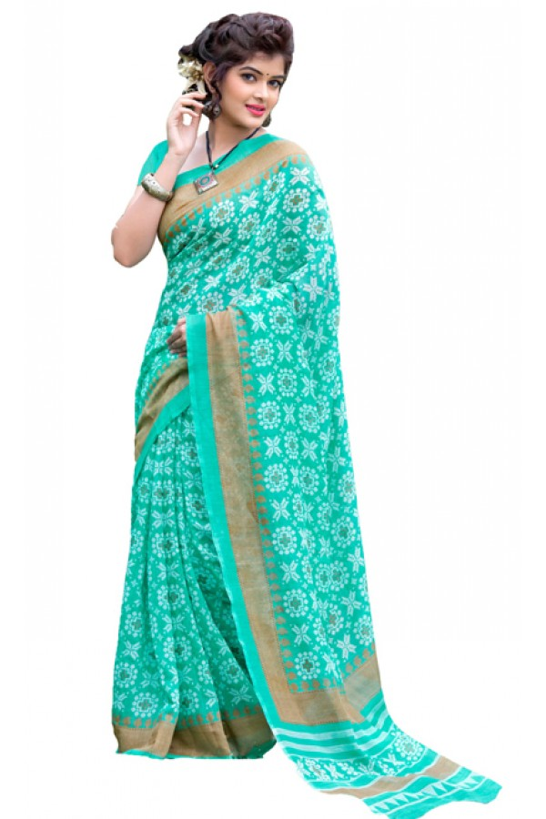 Party Wear Green Cotton Silk Saree  - RKVI7002